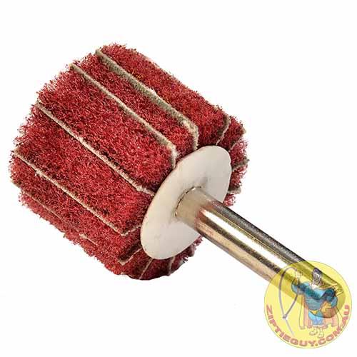 Red Scotchbrite Polishing Wheel with Sandpaper