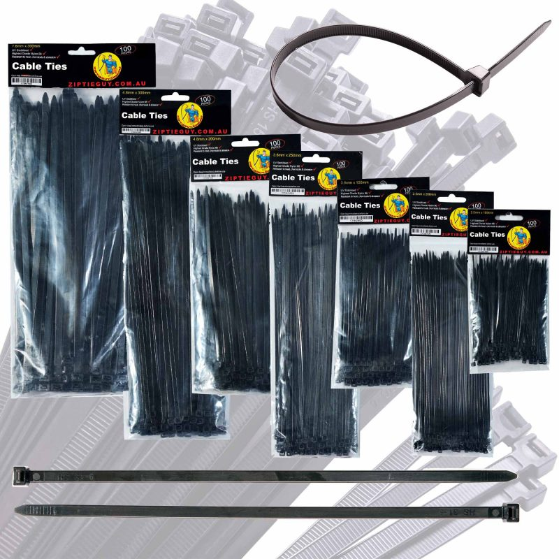Black Nylon Cable Ties – Various Sizes
