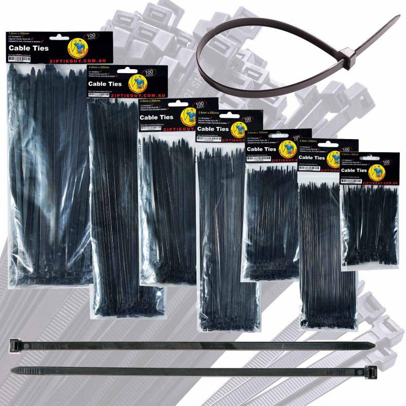 Black Nylon Cable Ties – Various Sizes