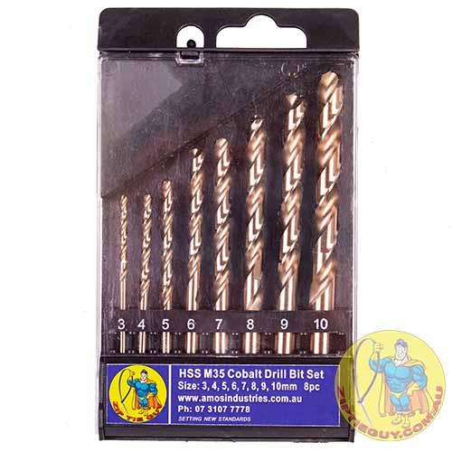 High Speed Steel (HSS) ) M35 Cobalt Drill Bit Set 8pc