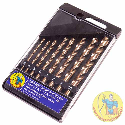 M35 Cobalt 8 Piece Metric HSS Drill Bit Set