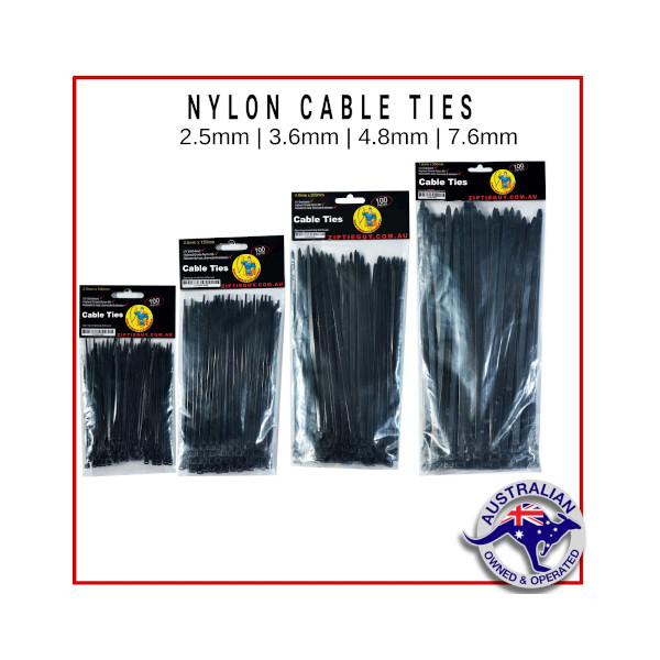 Black Nylon Cable Ties – Multi-Size Pack