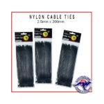 Black Nylon Cable Ties 2.5x200mm