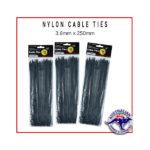 Black Nylon Cable Ties 3.6x250mm