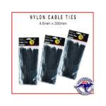 Black Nylon Cable Ties 4.8x200mm