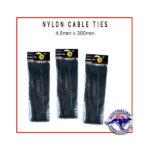 Black Nylon Cable Ties 4.8x300mm