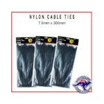 Black Nylon Cable Ties 7.6 x 300mm