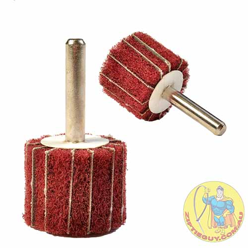 Red ScotchBrite Polishing Wheel on shank with sandpaper