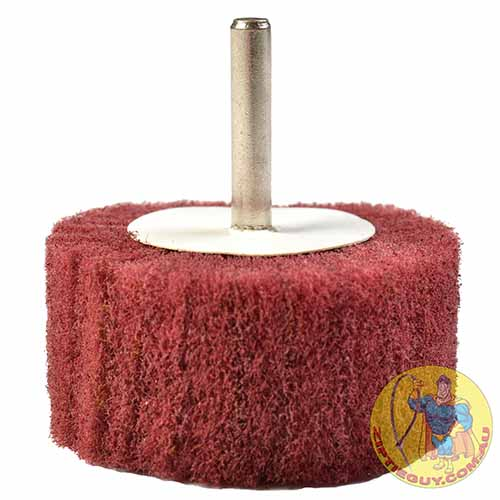 Red-ScotchBrite-Polishing-Wheel-On-Shank-side