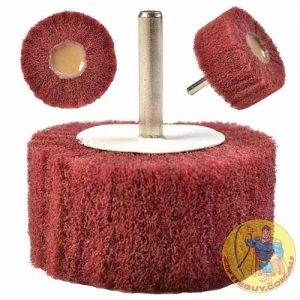 Red-ScotchBrite-Polishing-Wheel-On-Shank