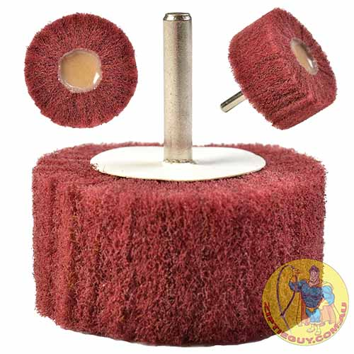 Red Nylon Polishing Wheel on Shank